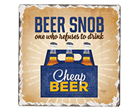 Beer Snob Single Tumble Tile Coaster-CART67795