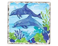 Dolphin Duo Single Tumble Tile Coaster-CART67807