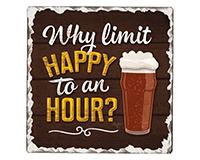 Why Limit Happy Single Tumble Tile Coaster-CART67859