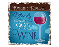 Wine Forecast Single Tumble Tile Coaster-CART67861