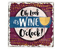 Wine O'clock Single Tumble Tile Coaster-CART67862