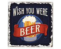 Wish you Were Beer Single Tumble Tile Coaster-CART67864