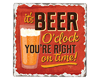 Beer O'clock Single Tumble Tile Coaster-CART67893