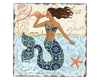 Mermaid Call Single Tumble Tile Coaster-CART67929