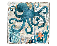 Nautical Octopus Single Tumble Tile Coaster-CART67932