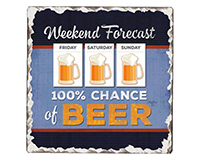 Weekend Forecast Single Tumble Tile Coaster-CART67958
