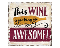 Awesome Wine Single Tumble Tile Coaster-CART67984