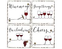 Underlined Wine 4 pk Assortment Coasters-CART88092