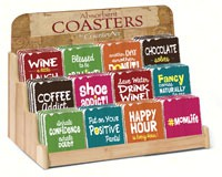 Colorful Scripts Assortment with Counter Display (72 Coasters)-CART91699