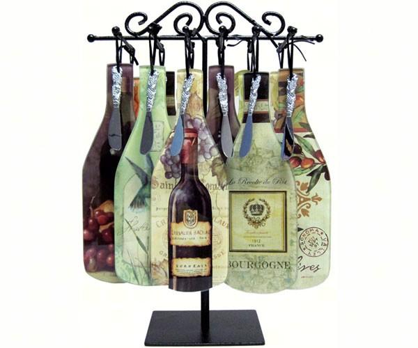 Wine Bottle Cheese Server Display