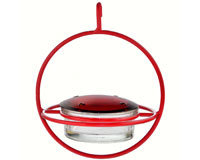 7.25 Inch Red Hanging Sphere Hummingbird Feeder with Perch-COURM047301R