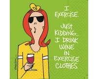Drink Wine in Excrise Clothes Cocktail Napkins-DESIGN62409791