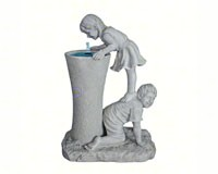Girl & Boy Sculptural Fountain + Freight-DTKY29848