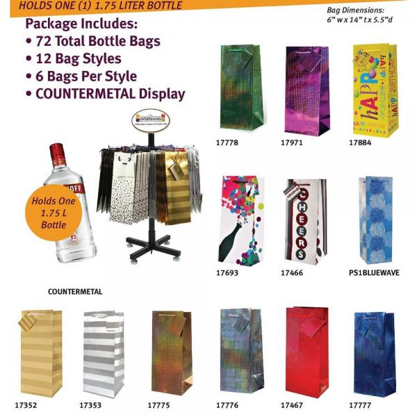 Everyday 1.75 Liter Bottle Gift Bags with Counter Display