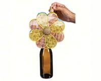 Delicate Flower Metal Wine Bottle & Cork Holder-EG8BCH003