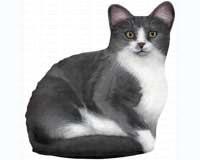 Grey & White Cat Doorstop (new design)-FE76