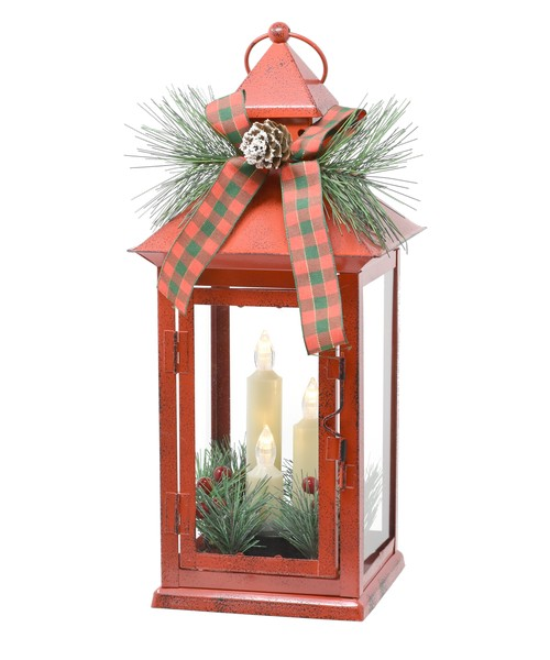 13.5 inch Red Taper Lantern with Trim