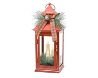 13.5 inch Red Taper Lantern with Trim-GE1007