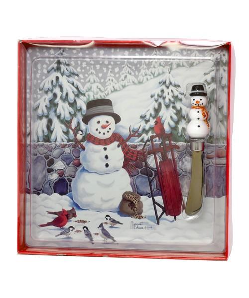 Cobane Stonewall Snowman Glass Cheese Board Set