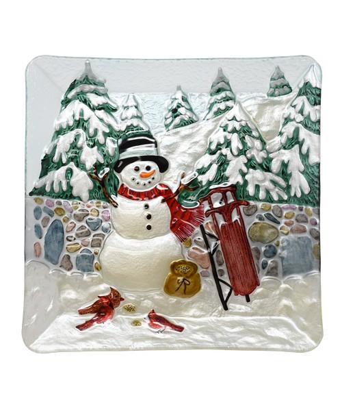 Cobane Stonewall Snowman Glass Platter