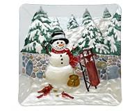Cobane Stonewall Snowman Glass Platter-GE1012