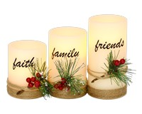 Faith, Family, Friends LED 3pc Candle Set-GE1019