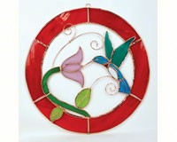 Stained Glass Hummingbird Window Panel -Large-GE106