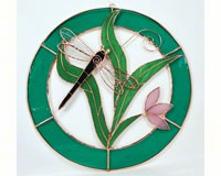 Stained Glass Dragonfly Teal Circle Frame Window Panel-GE109