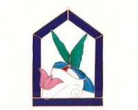 Stained Glass Hummingbird with Pink Flower Window Panel -Large-GE111
