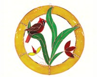 Stained Glass Cardinal Circle Window Panel - Small-GE115
