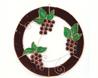 Stained Glass Grape Bunch Bunches of Grapes Window Panel -Small-GE117