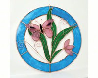 Stained Glass Pink Butterfly Circle Window Panel -Small-GE118