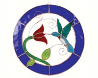 Stained Glass Hummingbird Blue Circle Frame Window Panel -Small-GE120