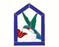 Stained Glass Hummingbird Blue Steeple Frame Window Panel -Small-GE123