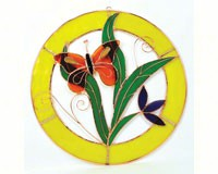 Small Orange Butterfly Circle Window Panel-GE124