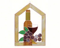 Stained Glass Small Wine Bottle Glass Grapes Scene Steeple Window Panel-GE126
