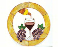 Stained Glass Large Final Drop of Wine Circle Window Panel-GE127