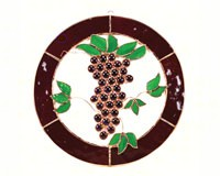 Stained Glass Small Grapes & Vines Circle Window Panel-GE130