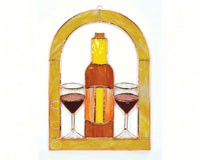 Stained Glass Small Wine Glasses and Bottle Cathedral Window Panel-GE132