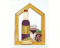 Stained Glass Large Wine with Cheese and Grapes Steeple Window Panel GE133