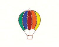 Stained Glass Rainbow Hot Air Balloon Suncatcher-GE135