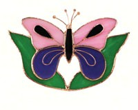 Stained Glass Pink & Purple Butterfly withLeaves Suncatcher-GE147