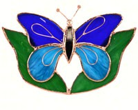 Stained Glass Dark & Light Blue Butterfly w/Leaves Suncatcher-GE150