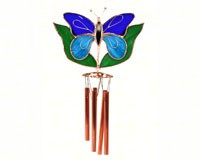 Dark & Light Blue Butterfly with Leaves Wind Catcher-GE151