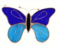 Stained Glass Dark & Light Blue Butterfly Suncatcher-GE153