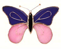 Stained Glass Purple & Pink Butterfly Suncatcher-GE161