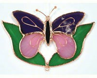 Stained Glass Purple & Pink Butterfly with Leaves Suncatcher-GE163