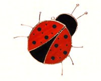 Stained Glass Lady Bug Suncatcher-GE182