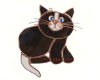 Stained Glass Black Cat Suncatcher-GE184