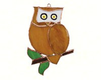 Stained Glass Owl Suncatcher-GE194